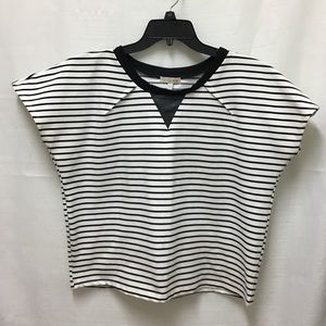 GB Gianni Bini Black and White Stripe Boxy Shirt L